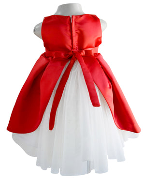 Faye Red Satin Pleated Ocassion Dress for girls with net