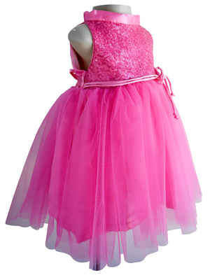 Faye Blush Pink Sequin Dress for Kids in Net