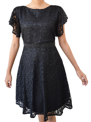Black Lace Party Dress for Teen Girls