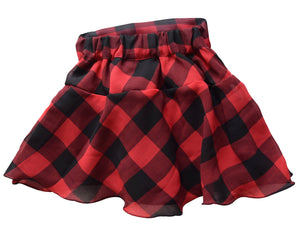 Girls Skirt in Black & Red Checks