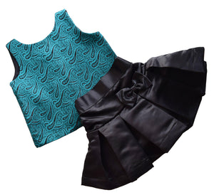 Teal Brocade Top & Black Satin Skirt