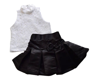 White Lace Top & Black Satin Skirt