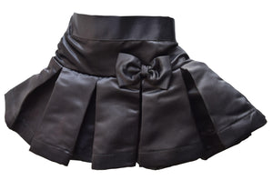 Faye Black Satin Kids Skirt