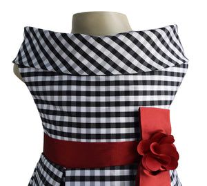 kids party wear in black n White checks tafetta