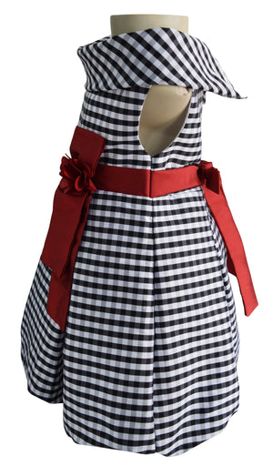 kids party dress in black n White checks tafetta
