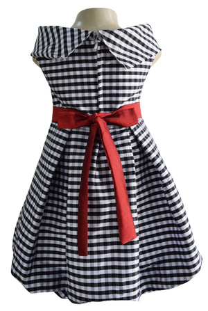 girls dress in black n White checks tafetta