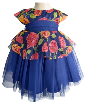 Blue Floral Peplum Kids Party Dress
