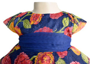 Blue Floral Peplum Dress