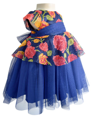 Blue Floral Peplum Dress for girls