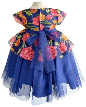 Blue Floral Peplum Dress for Kids