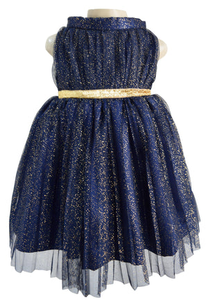 Faye Blue Shimmer Kids girls Party Dress