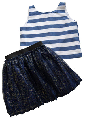 Blue Shimmer Skirt & Striped Top_Faye