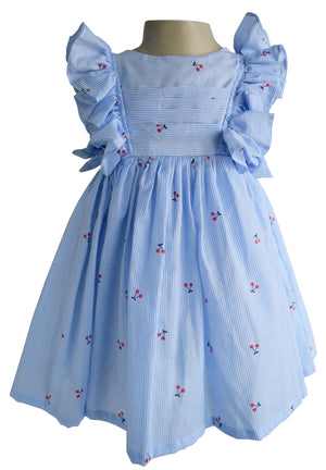Blue Striped Cherry Dress for Kids