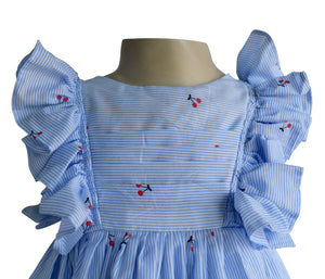 Blue Striped Cherry Dress