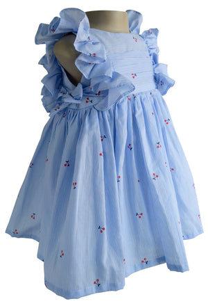 Blue Striped Cherry Dress for Girls