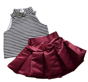 Burgundy Satin Skirt & Striped Top