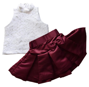 Burgundy Satin Skirt & White Lace top