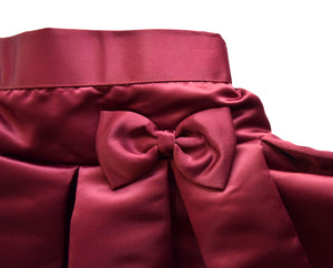 Burgundy Satin Skirt with Bow