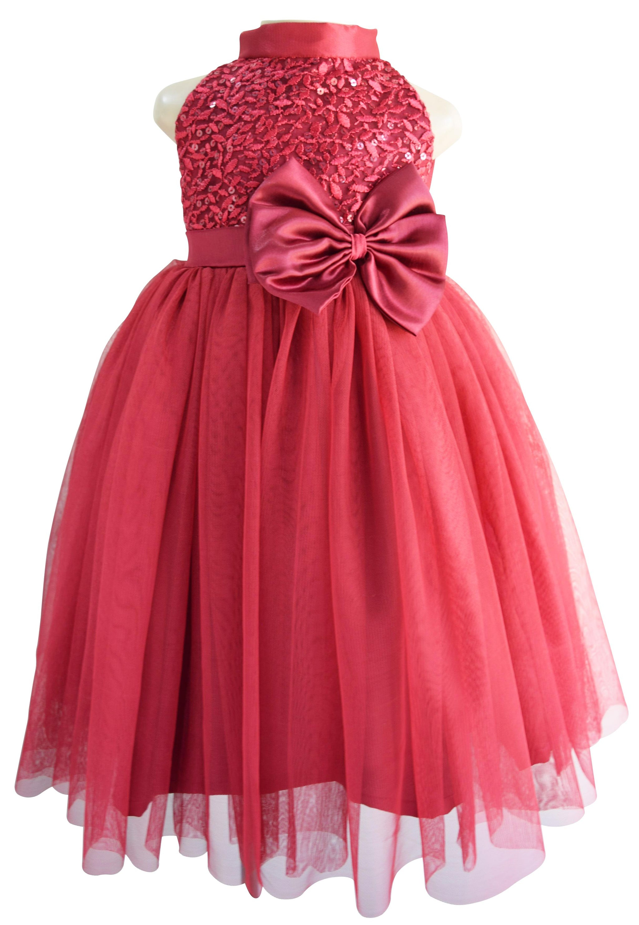 57199f7f138 Gowns for kids Faye Burgundy Sequin Gown