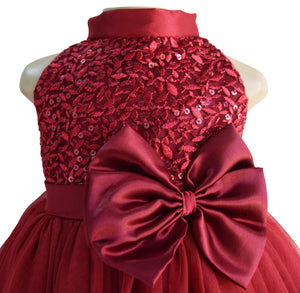 Gowns for kid girls_Faye Burgundy Sequin Gown