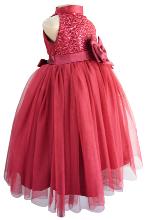 Party Gowns for kids_Faye Burgundy Sequin Gown