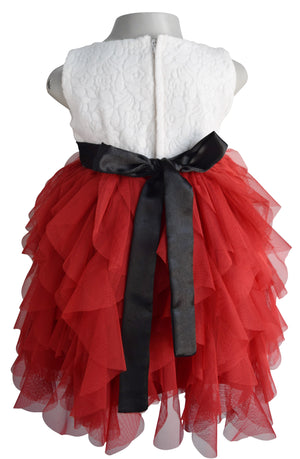Faye Cream & Maroon Girls Party Dress