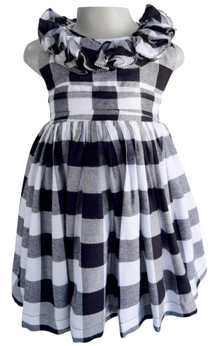 Faye Black & White Checks Ruffle Dress for Kids