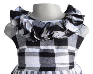Faye Black & White Checks Ruffle Dress for kid girls