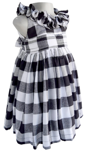 Faye Black & White Checks Ruffle Dress for girls