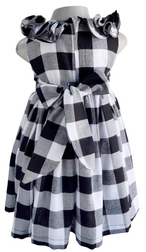 Faye Black & White Checks Ruffle Dress