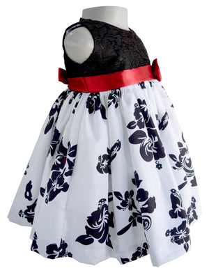 Faye Black & White Floral Party Dress for baby Girls