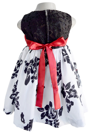 Faye Black & White Floral Party Dress for Kids