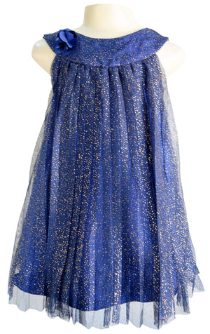 Faye Pleated Shimmer Dress for Kids