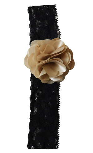 hairband_Champagne Flower on Black Lace