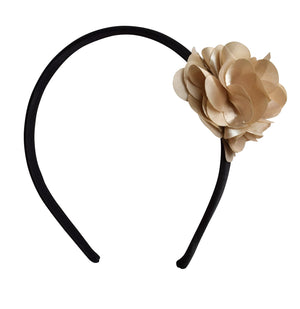 Hair Band_Champagne Flower on Black Satin