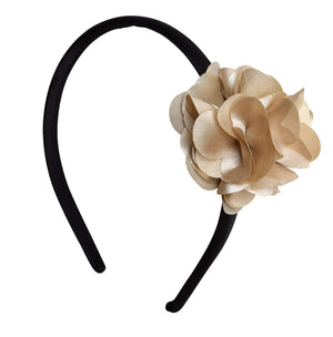 Champagne Flower on Black Satin hair band