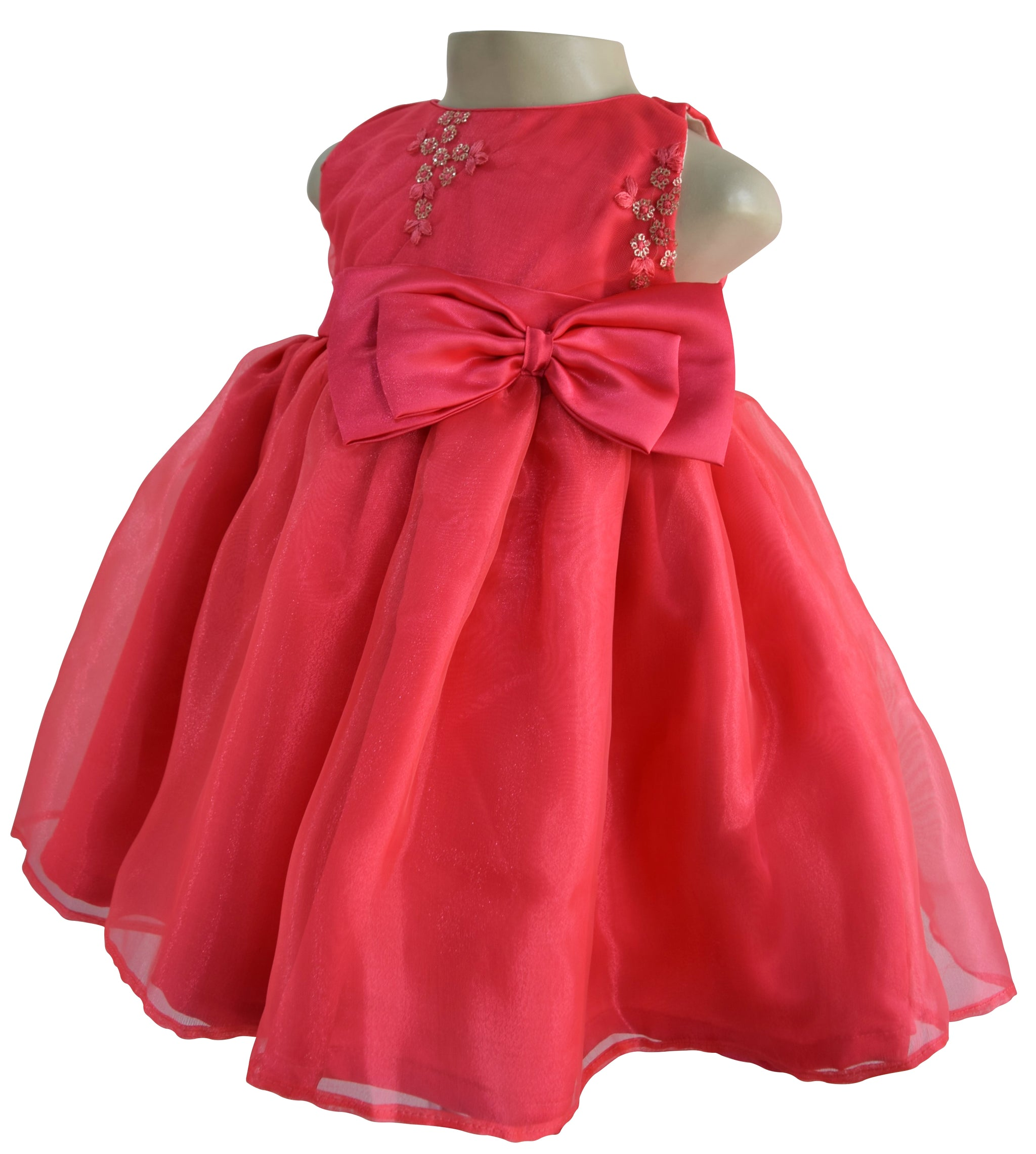 Dress For Girls Coral Embroidered Kids