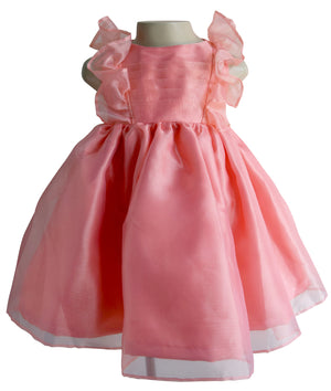 Faye Coral Ruffle Kids Party Dress
