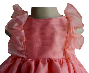 Faye Coral Ruffle baby girl Party Dress