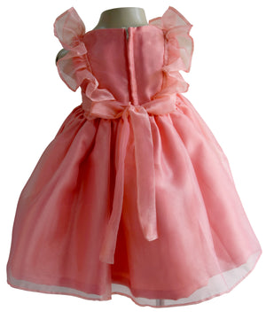 Faye Coral Ruffle Kid Girls Party Dress