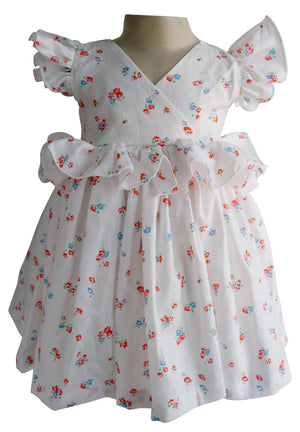 Cream Floral Ruffled Dress for Kid Girls