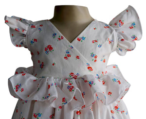 Cream Floral Ruffled Dress for Kids