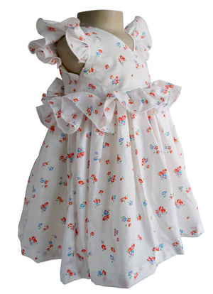 Cream Floral Ruffled Dress for girls