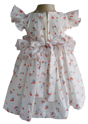 Cream Floral Ruffled Dress for baby girls