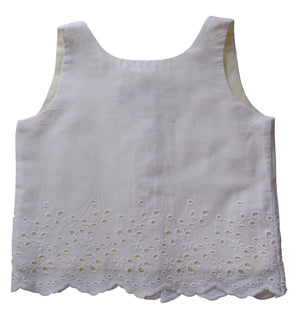 Cream Scallop Top for kids