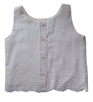 Cream Scallop kids Top