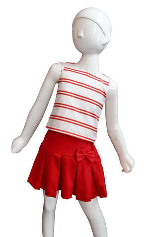 Red & Ivory Striped Top to go with skirts with red skirt