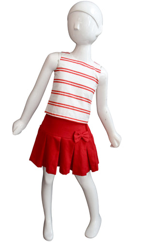 Kids Skirts_Faye Red Pleated Twill Skirt with Ivory Top