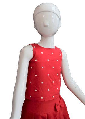 Kids Tops_Red & Ivory Polka Top paired with red skirt