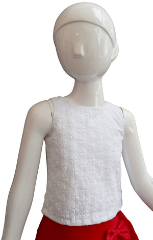 White Embroidered Crop Top for Kid Girls